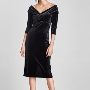 Zara Dark Green Off the shoulder velvet dress